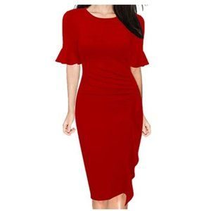 Bell Sleeve Slim Cocktail Pencil Dress Red XL
